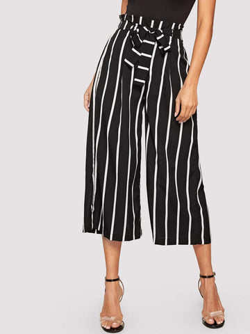Black and White Loose Striped Frilled Waist With Belt Wide Leg Crop Pants