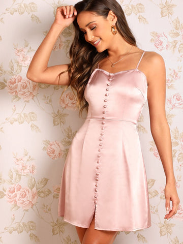 Pink Spaghetti Strap Sleeveless Zip Back Button Embroidered Satin Slip Dress