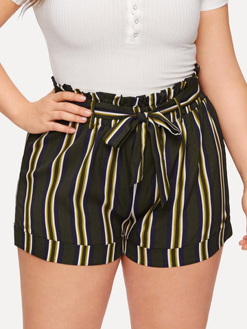 Polyester Belted Plus Striped Self Tie Shorts