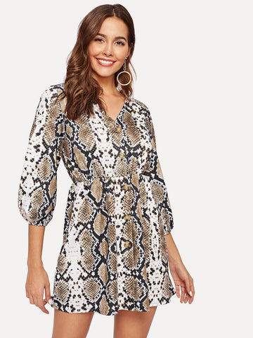 Polyester V Neck Snakeskin Print Button Through Dress