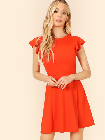 Orange Neon Round Neck Flutter Sleeve Fit & Flare Dress