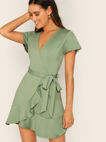Green Deep V Surplice Neck Wrap Ruffle Hem Belted Dress