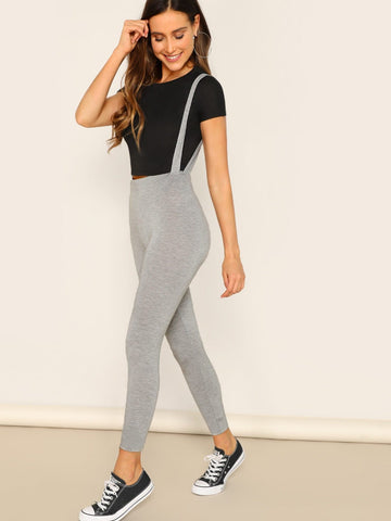 Grey Heathered Gray Leggings With Strap
