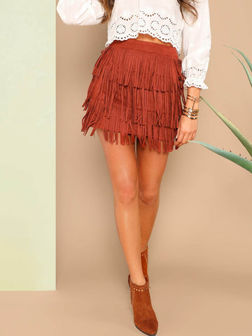 High Waist Layered Fringe Detail Suede Mini Skirt