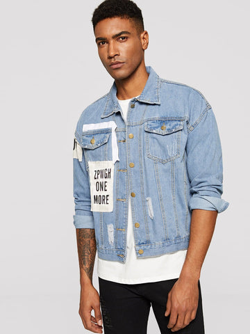 Blue Single Breasted Ripped & Letter Patched Denim Jacket