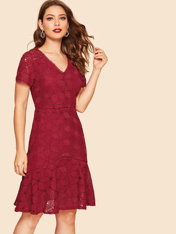 Burgundy V Neck Guipure Lace Ruffle Hem Dress
