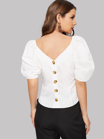White Slim Fit Double V-neckline Puff Sleeve Buttoned Back Top