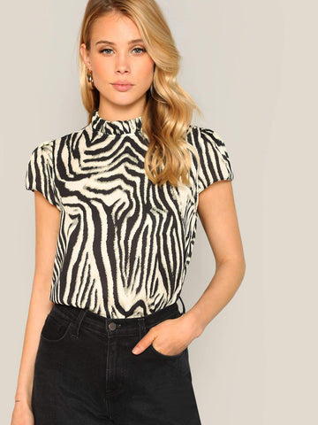 Black and White Stand Collar Frill Neck Zebra Print Blouse Top
