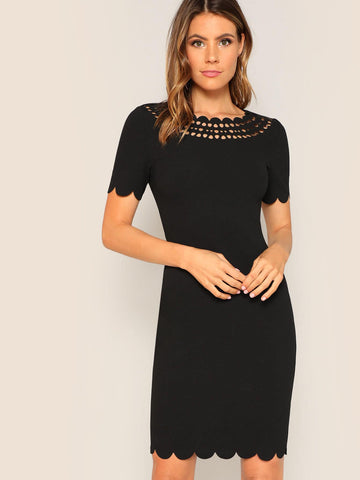 Black Scoop Neck Laser Cut Scallop Trim Dress