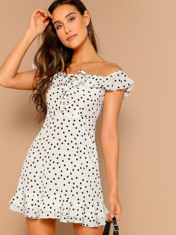 White off Shoulder Sleeveless Flounce Layered Neck Lace-up Dot Dress