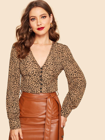 V Neck Long Sleeve Button Up Leopard Print Crop Shirt