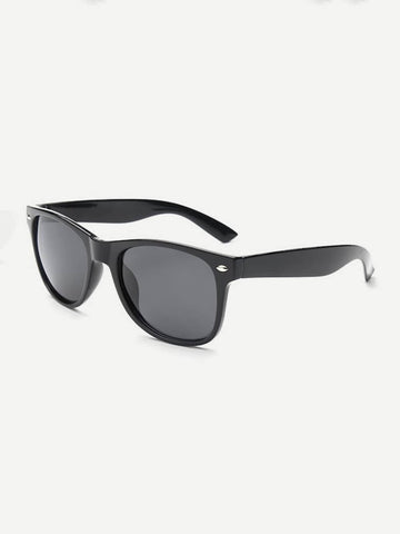 Black Basic Metal Detail Sunglasses