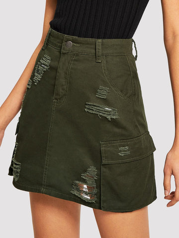 Army Green Pocket Side Denim Ripped Denim Skirt