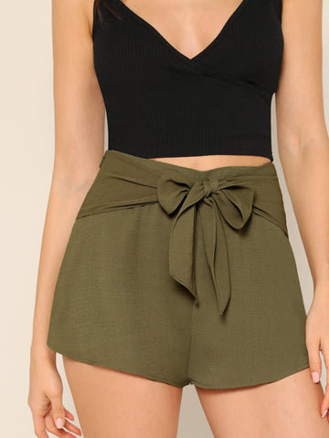 Zipper Fly Wide Leg Tie Waist Solid Shorts