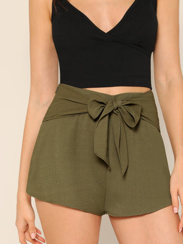 Army Green Bow Tie Waist Solid Shorts