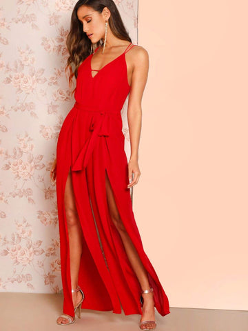 Red Sleeveless Crisscross Back Overlap Leg Cami Jumpsuit