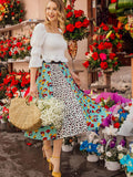 Polyester Mid Waist Leopard and Floral Print Pleated Skirt