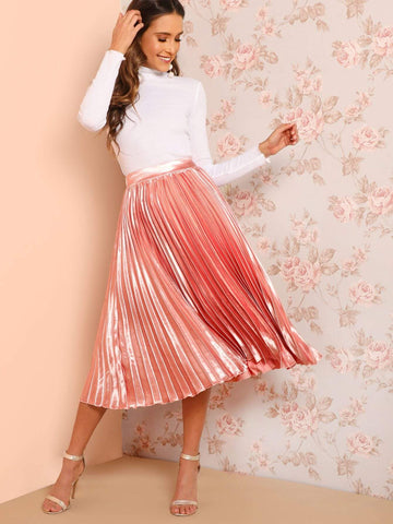 Pink Polyester Elastic Waist Solid Pleated Skirt