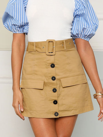 Khaki Mid Waist Buckle Belted Button Up Skirt