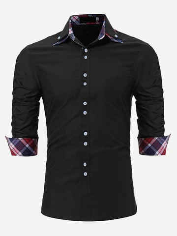 Black Long Sleeve Plaid Contrast Shirt