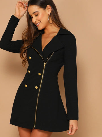 Long Sleeve Notched Neckline Double Breasted Detail Asymmetrical Zip Up Dress