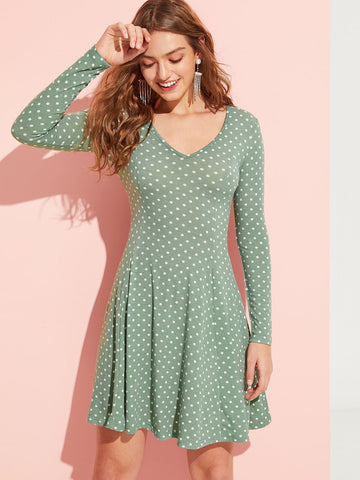 Green Polka Dot Print V Neck Flare Dress