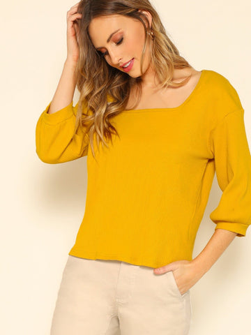Ginger Rib Knit Square Neck Solid Top
