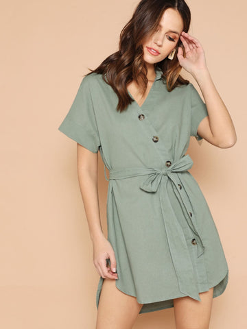 Green V Neck Button Up Curved Dip Hem Dress