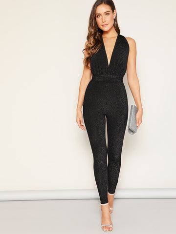 Black Sleeveless Deep V-neck Criss Cross Backless Glitter Jumpsuit
