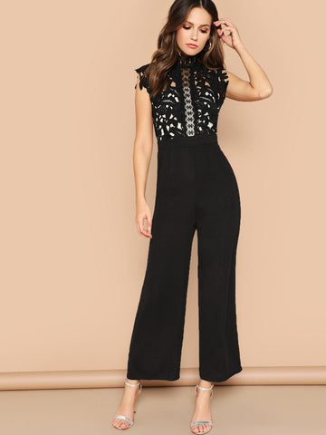 Black Stand Collar Guipure Lace Bodice Wide Leg Jumpsuit