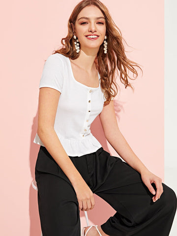 White Short Sleeve Square Neck Button Peplum Top