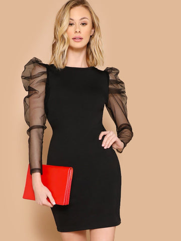Black Round Neck Sheer Mesh Gigot Sleeve Pencil Dress
