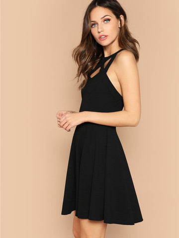 Sleeveless Cage Neck Open Back Fit & Flare Dress