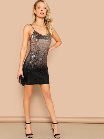 Spaghetti Strap Sleeveless Ombre Sequins Backless Cami Dress