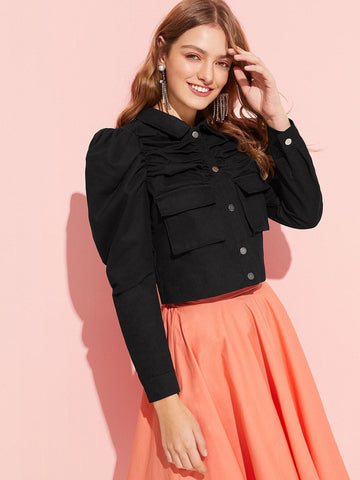 Black Cotton Button Up Flap Pocket Puff Sleeve Ruched Top