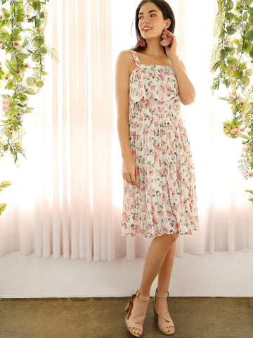 Polyester Sleeveless Floral Print Pleated Ruffle Thick Strap Dress