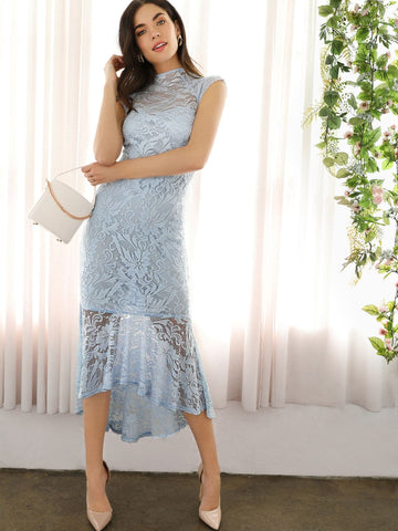 Blue Pastel Cap Sleeve Zip Back High Low Hem Lace Mermaid Dress