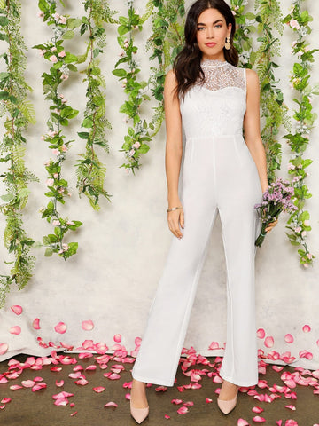 White Stand Collar Lace Bodice Tailored Jumpsuit