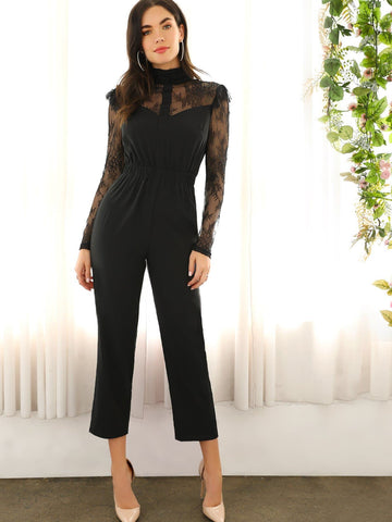 Black Stand Collar Lace Shoulder & Sleeve Elastic Waist Jumpsuit