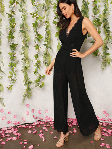 Black Polyester Sleeveless Lace Trim V-back Wide Leg Pleated Jumpsuit