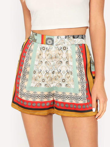 High Waist wide Leg Tribal Print Satin Shorts