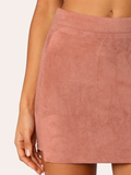 Mid Waist Stepped Side Zip Back Suede Mini Skirt