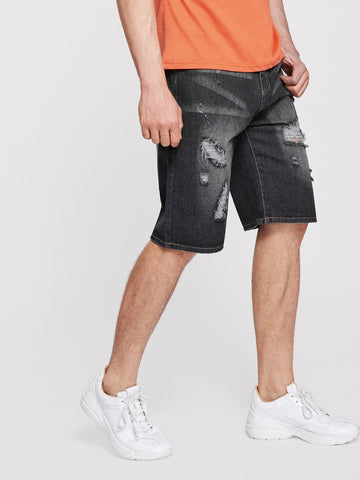 Black Button Fly Ripped & Patched Detail Denim Shorts