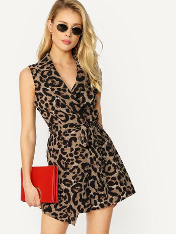 Sleeveless Surplice Wrap Asymmetric Leopard Romper With Belt