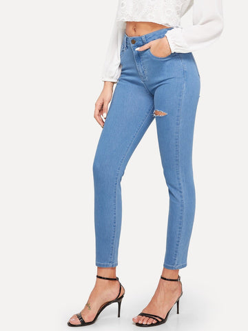 Blue Mid Waist Ripped Detail Skinny Jeans