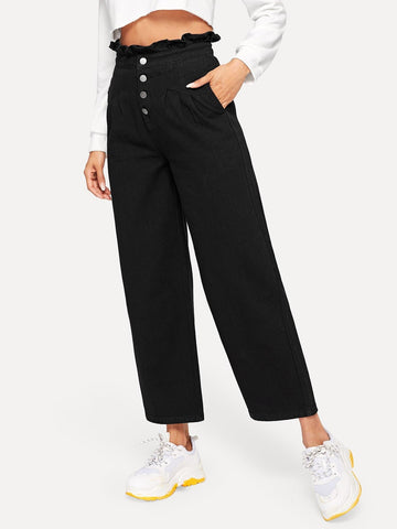 Black Loose Frill High Waist Button Up Jeans