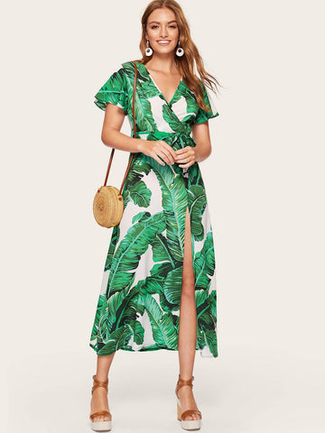 V Neck Jungle Flutter Sleeve Split Thigh Belted Maxi Dress