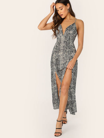 Sleeveless Deep V-Neck Side Slit Criss Cross Back Snake Maxi Dress