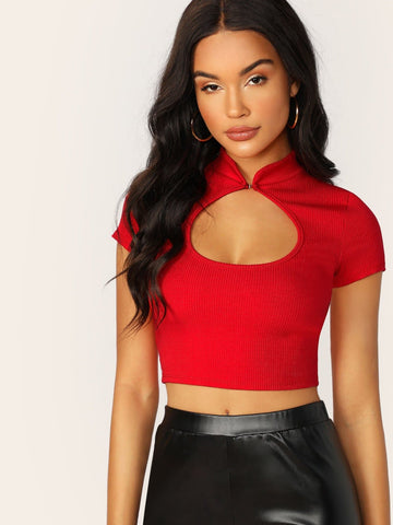 Red High Neck Neckline Cut Out Short Sleeve Rib Knit Cropped Top