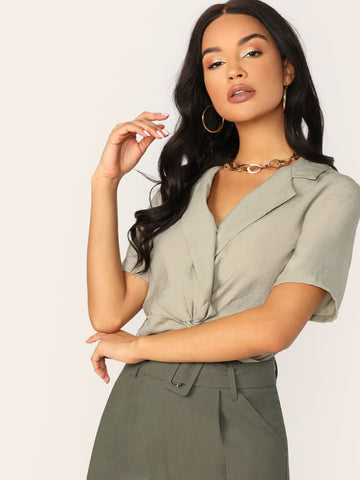 Grey Short Sleeve Surplice Twist V-Neck Elastic Hem Crop Top
